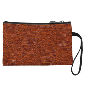 Brown Realistic Alligator Skin Look Wristlet Clutches