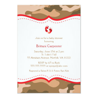 Brown & Red Camo Baby Shower Invitation with feet