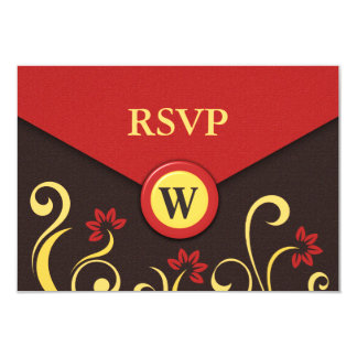 Brown Red Yellow Floral Swirls RSVP Response Cards 9 Cm X 13 Cm Invitation Card