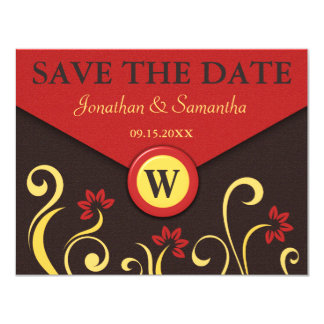 Brown Red Yellow Swirls Save The Date Announcement