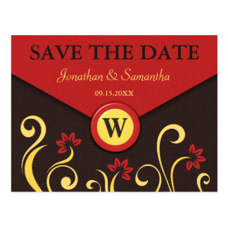 Brown Red Yellow Swirls Save The Date Post Cards