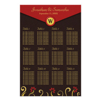 Brown Red Yellow Swirls Table Seating Chart 12 Poster