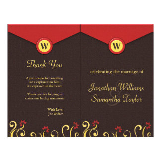 Brown Red Yellow Swirls Wedding Program Templates Flyer Design
