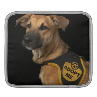Brown rescue dog with adopt me vest iPad sleeve