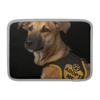 Brown rescue dog with adopt me vest MacBook sleeve
