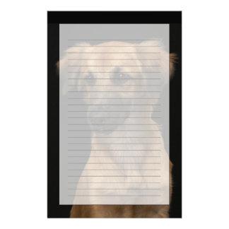 Brown resuce dog with black nose on black stationery paper