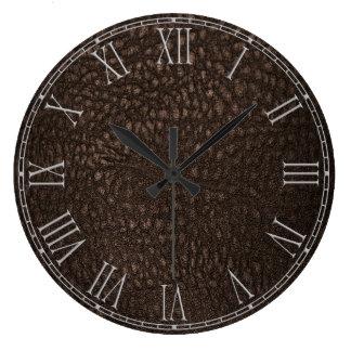 Brown Retro Custom Leather Large Clock