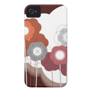 Brown Retro Flowers Abstract Art iPhone 4 CaseMate iPhone 4 Cases