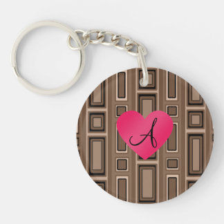 Brown Retro squares monogram Key Chain