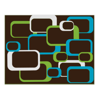 Brown Retro Squares Poster
