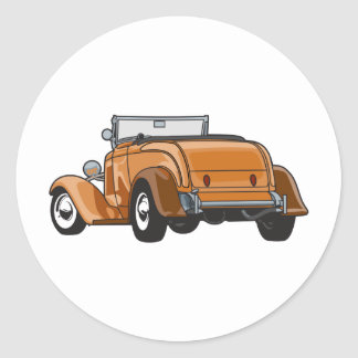 Brown Roadster Round Sticker