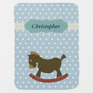 Brown Rocking Horse Polka Dot Stripes Baby Blanket