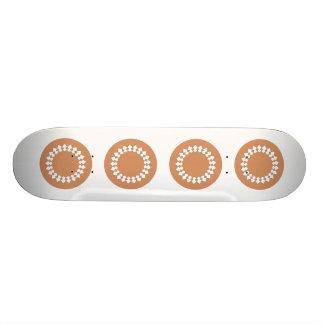 Brown Round Wheel Pattern Graphic Design. Skate Decks