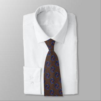 Brown Rust Purple Blue Star of David Pattern Tie