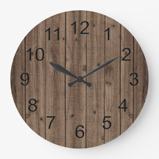 Brown Rustic Beautiful Wood Texture Large Clock