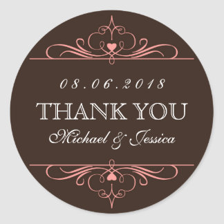 Brown Rustic Swirl Floral Ornament Wedding Sticker