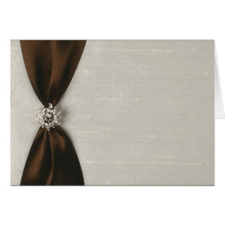 Brown Satin Ribbon with Jewel Card
