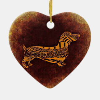 Brown sausage dog graphic ceramic heart decoration