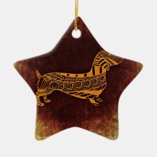 Brown sausage dog graphic ceramic star decoration