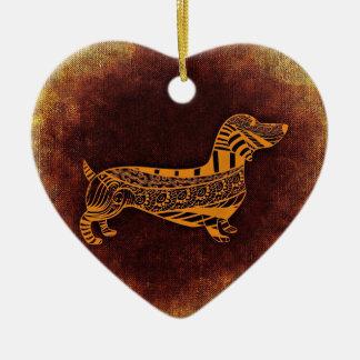 Brown sausage dog graphic christmas ornament