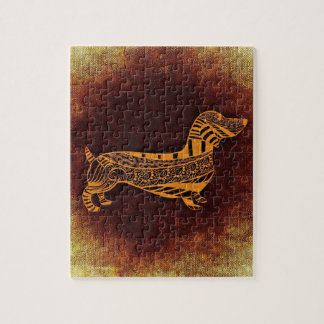 Brown sausage dog graphic jigsaw puzzle