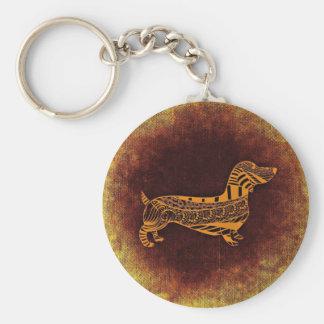 Brown sausage dog graphic key ring