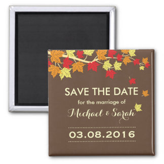 Brown Save The Date Maple Leaf Fall Wedding Magnet
