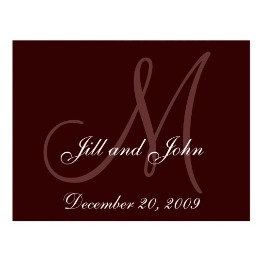 Brown Save the Date Monogram Announcement Postcard