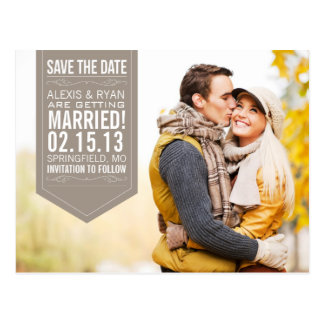 Brown Save The Date Postcard