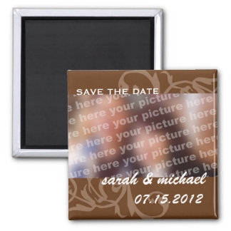 Brown save the date wedding announcement photo square magnet