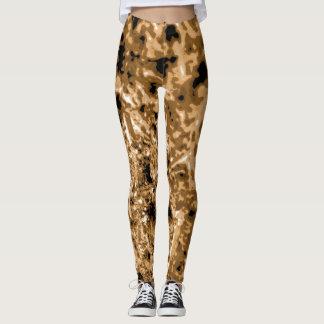 Brown Sea Urchin Textured Leggins Leggings