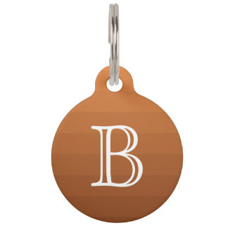 Brown Shades Stripes Monogram Initial Simple Pet ID Tag