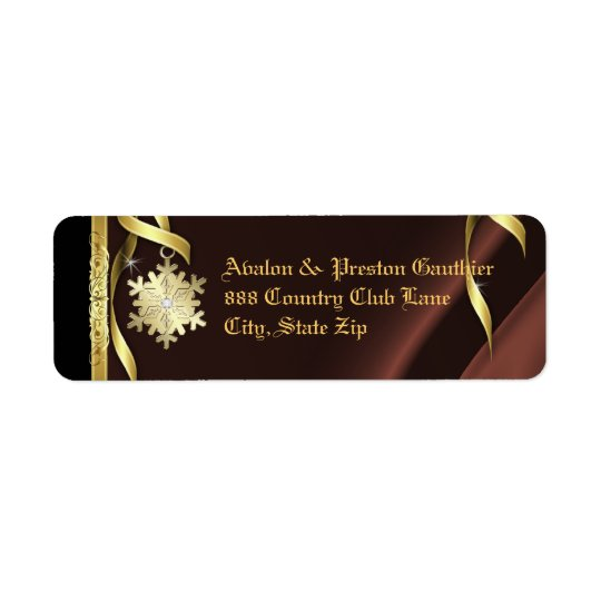 Brown Shimmering Snowflake Christmas Address Label