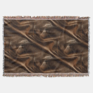 Brown Shiny Faux Leather Throw Blanket