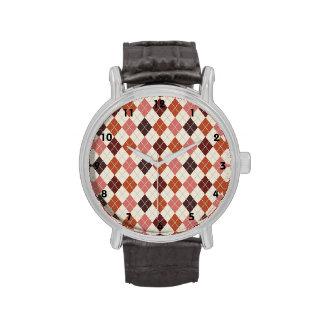 Brown, Sierra, Burnt Orange, Tan Argyle Wrist Watches