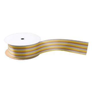Brown, Silver and Gold Stripes Satin Ribbon
