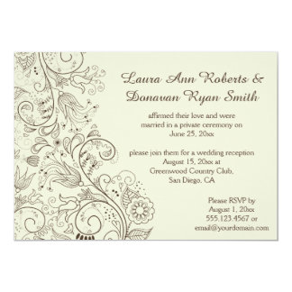 Brown Sketched Swirls Flowers on Ivory Wedding 13 Cm X 18 Cm Invitation Card