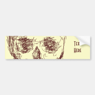 Brown Skull. Bumper Sticker