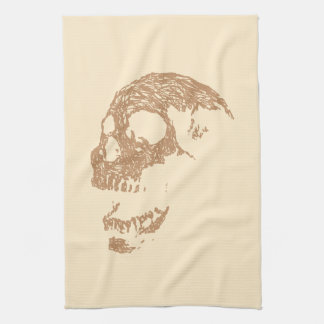 Brown Skull Design. Tea Towel