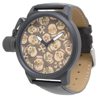 brown skull heads with colorful eyes watch