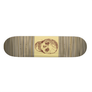 Brown Skull. Skateboard Deck