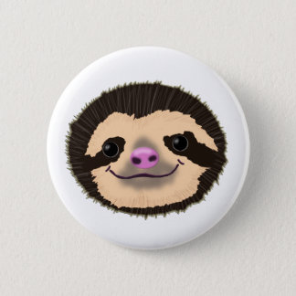 brown smiling sloth face 6 cm round badge