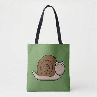 Brown snail cartoon character tote bag
