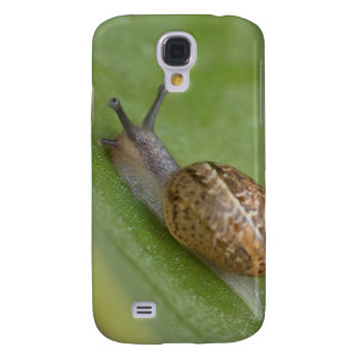 Brown snail on dew covered leaf galaxy s4 case