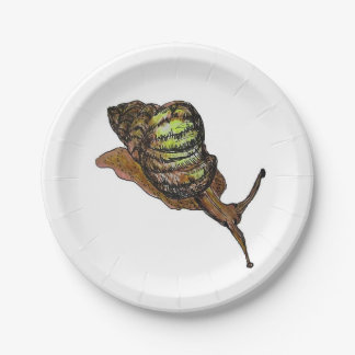 brown snail paper plate