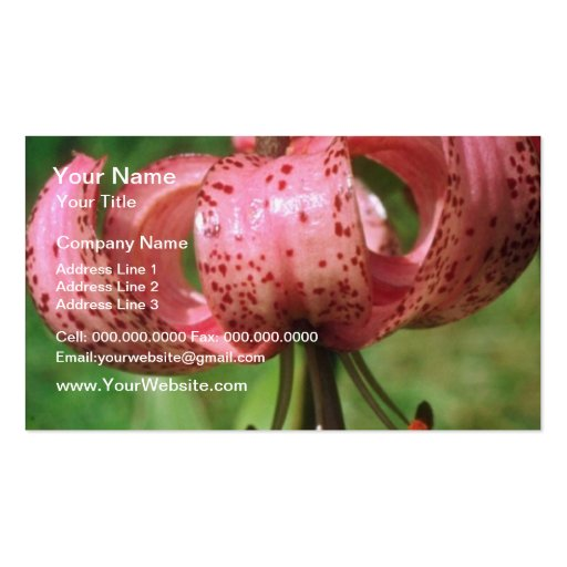 Brown Speckled pink flowers Business Card Template