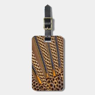 Brown spotted pheasant feather bag tag