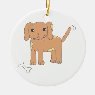 Brown Spotted Puppy Dog Christmas Ornament