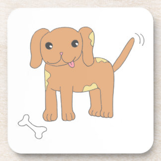 Brown Spotted Puppy Dog Drink Coasters