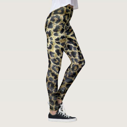 Brown Spotty Leopard Pattern, Ladies Leggings